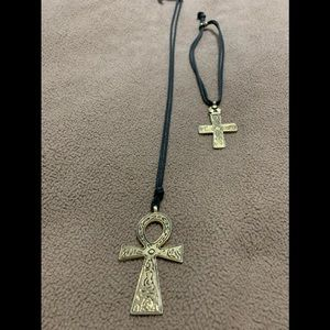 Jewelry - Ankh and Cross on Leather Strands